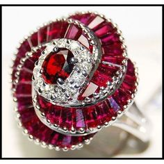 White Gold Eternity Ruby Diamond Cocktail Ring-Wow, that is an intricate cut Ruby ring! Ruby Jewelry, I Love Jewelry, Diamond Jewelry, Fine Jewelry, Birthstone Jewelry, Jewelry Rings, Ruby Pendant, Sapphire Pendant, Cross Pendant