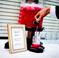"""""""Berry in Love Lemonade""""--  great idea for a signature cocktail!"""