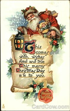 Santa holding a lantern SANTA CLAUS SCROLLS Series 525 A Happy Christmas