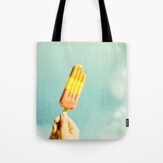 Summer Ice Tote Bag by karidesign Poplin Fabric, Hand Sewn, Original Artwork, Stress, Reusable Tote Bags, America, Sewing, Shoulder, Cotton