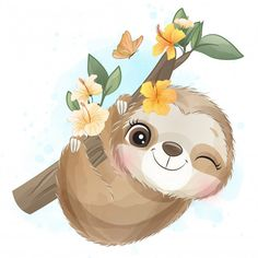 Cute Sloth With Watercolor Illustration Mignonne, Cute Illustration, Baby Animal Drawings, Cute Drawings, Cartoon Pics, Cute Cartoon, Cute Images, Cute Pictures, Art Mignon
