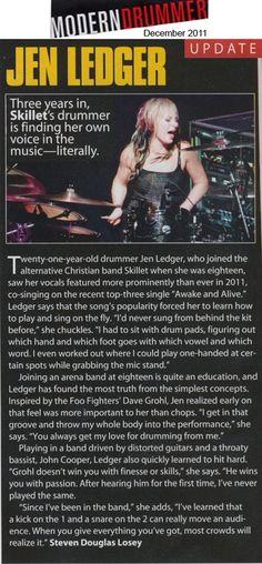 Article on Jen Ledger (the drummer for skillet)