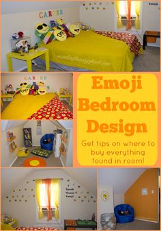 Emoji Bedroom Design - I was initially stumped when my son said he wanted an emoji themed bedroom. Now, it's one of my favorite interior design and home decor projects I've ever done! See the full design and links to find most of the items I used!