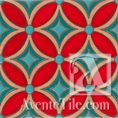 "Geometrical Petals F 6"" x 6"" Hand-Painted Ceramic Tiles 
