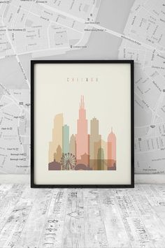 Chicago art print, Printable Poster Wall Art, Chicago skyline, Travel city Poster, wall decor, digital poster print, INSTANT DOWNLOAD
