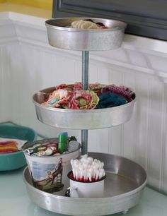 3 tiered tray tutorial from circular pans at Pleated Poppy. Wish I'd done this instead of buying the too big/too expensive one online!
