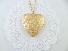 Gold Heart Floral Design Brass Locket Necklace by Clotique on Etsy, £8.00