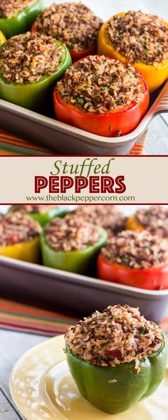 Stuffed Pepper Recipe with Ground Beef and Rice - Stuffed green bell pepper recipe with ground beef and rice. Red, yellow and orange peppers work great as well. Baked in the oven. via @blackpeppercorn