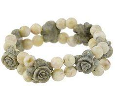 Connemara Marble Carved Rose Stretch Bracelet