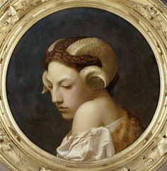 Jean Leon Gerôme - Tête de femme coiffée de cornes de bélier -Étude, dit aussi la Bacchante, 1853, huile sur toile, diam. 47,5 cm, Musée des Beaux-Arts, Nantes.