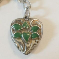 Sterling Silver Walter Lampl Puffy Heart Charm - Repousse and Green Enamel Lily – Engraved 'Marquerite'