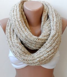 Knitted cowl scarf, Christmas gifts /Knitted loop scarf, Knit infinity scarf Wool knit scarf/  Tan scarf- Circle scarf, Cream camel scarf on Etsy, $33.90