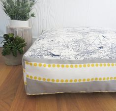 World Map Dog Bed | Floor Pillow | Blue & Yellow Dog Bed | Printed Dog Bed | Dog Pillow