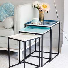 Square Tray Enamel Nesting Tables Set of 3