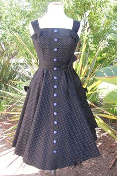 Hell Bunny Gery 50's Purple Polka Dot Dress- would be perfect in black & white with red sash & buttons!