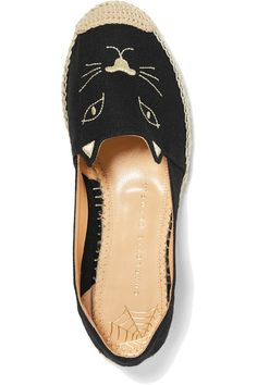 Charlotte Olympia - Kitty Embroidered Canvas Espadrilles - Black - IT41
