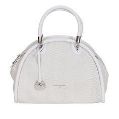 Handbag bianca con stampa rettile Nannini