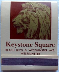 Keystone Square, Westminster #matchbook - To design & order your business' own logo #matches GoTo: GetMatches.com #phillumeny