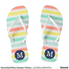 42da66906f55 Sunwashed Neon Summer Cabana Stripe Monogram Flip Flops  summer  beachwear   flipflops  beach
