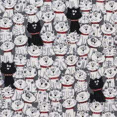 Timeless Treasures Packed Cats White from @fabricdotcom  Designed by Gail Cadden for Timeless Treasures,  this cotton print fabric is perfect for quilting, apparel and home décor accents. Colors include black, white, grey and red.