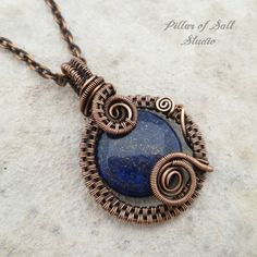 blue lapis lazuli copper wire wrapped pendant necklace | jewelry by Pillar of Salt Studio