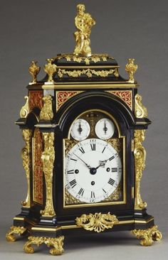 "*1765 British Bracket clock in the Royal Collection, UK - From the curators' comments: ""This bracket clock was constructed by François-Justin Vulliamy, the founder of the Vulliamy dynasty of royal clockmakers. It is of characteristically high quality; but the lavishly mounted case, which is used as a vehicle for the display of the bronze-maker's and chaser's skill, is its most distinctive feature."""