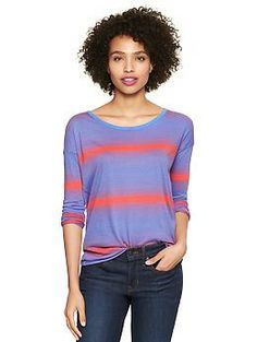 Variegated-stripe T   Gap -  55% cotton and 45% modal