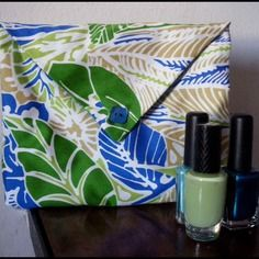 Pochette à maquillage savane verte et bleu