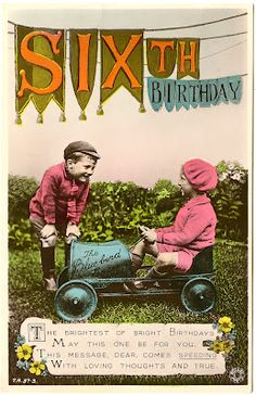 Vintage birthday card *The Graphics Fairy LLC*: Old Photo - Kids with Pedal Car - Birthday
