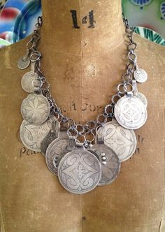 by Victoria Rivers | Necklace; antique Berber amulets, some more than 140 years old, antique Moroccan coins, hand forged chain | 1'150$