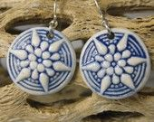 Navy Blue Porcelain Starburst Earrings With Sterling Silver Earwires