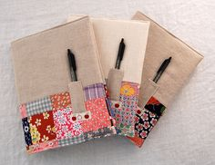 vintage patchwork + linen notebooks