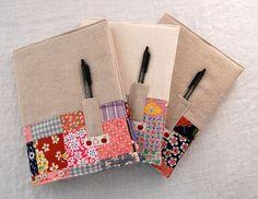 vintage patchwork + linen notebooks