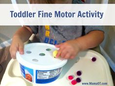 Toddler Fine Motor Activity with Pom Poms and a Plastic Container - Pinned by @PediaStaff – Please Visit ht.ly/63sNtfor all our pediatric therapy pins