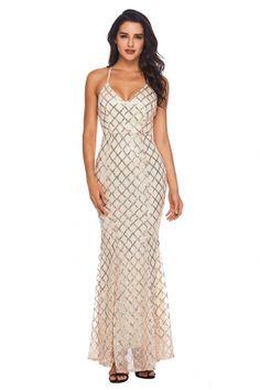 Pink Gold Sequins Crisscross Maxi Evening Dress de8c62faa33b