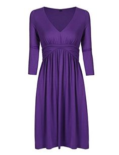 Charm Your Prince Women's 3/4 Sleeve Sundress Fall V-Neck Purple Dress L. Brand: Charm Your Prince. Fit: Women's Regular USA Sizing. Material: SOLIDS (95% Rayon 5% Spandex) PATTERNS (95% Polyester 5% Spandex) **(Machine Washable Cold). Style: 3/4 Sleeve Full Back Above the Knee V-Neck Dress. Feel: Soft Jersey Fit.