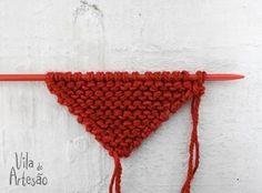 Tutorial coração em tricô http://www.viladoartesao.com.br/blog/2014/05/como-fazer-uma-guirlanda-com-coracoes/