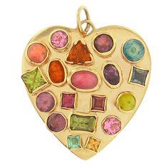 Vintage Color Splash Gem Heart 14k Gold Charm - CHARMCO