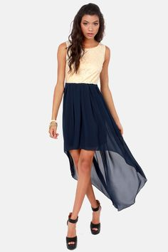 Its High-Low Time Cream and Navy Blue Lace Dress at LuLus.com!