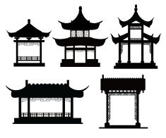 Chinese traditional pavilions vector art illustration Architecture Antique, Ancient Chinese Architecture, Asian Architecture, Architecture Design, Architecture Office, Futuristic Architecture, Chinese Crafts, Chinese Art, Japanese Design