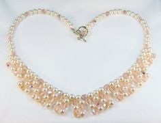 Pale Pink Pearls Antique Rose Crystal Victorian Style Fringe Necklace