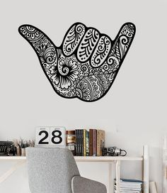 Vinyl Wall Decal Shaka Hang Loose for Surfer Hawaii Sign Stickers (ig3577)