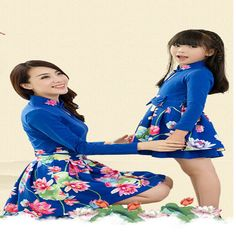 Mother daughter dresses photography props dress mom and daughter 2pc flower vintage mother daughter matching clothes family look