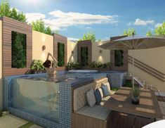 The leisure space does not require ample ground to install recreational items to relax and hold a meeting with friends and family. THE small play area. Small Backyard Pools, Backyard Pool Designs, Small Pools, Swimming Pool Designs, Outdoor Spaces, Outdoor Living, Outdoor Decor, Piscina Diy, Oberirdische Pools