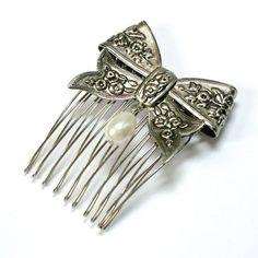 victorian bow hair comb