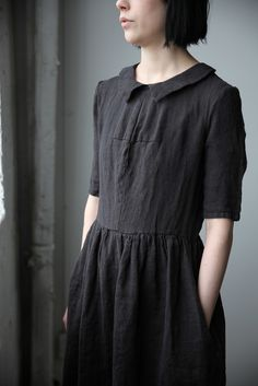 Mathilde Short Sleeve Linen Dress with Collar | Ovate