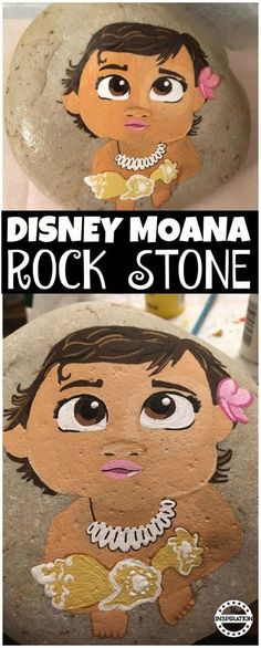 This is a super cute rock stone painting. This Disney Craft is a fantastic and fun rock painting activity that will make a great Moana party idea or  brilliant disney gift. Come and check it out. #Disney #Moana #DIsneyMoana #Crafts #rockpainting #rockstones #storystones #moanarockstone #disneyrockstone #disneycraft #disneystyle #moanabirthday #partydecor #partyideas #giftidea