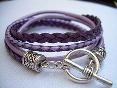 Womens Leather Bracelet , Toggle Closure, Metallic Purple, Lavender, Pink,Violet, Double Wrap,