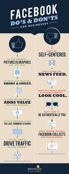 Facebook DO's & DONT's for Businesses. Some basic but worthwhile tips in this Facebook Infographic for Facebook Marketing