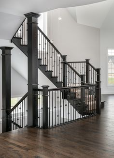 Beautiful stairs with iron balusters! Wellsley II floor plan by King's Court Builders, Naperville, Indoor Stair Railing, Stair Banister, Wrought Iron Stair Railing, Iron Balusters, Banisters, Railings, Railing Design, Staircase Design, Foyer Staircase